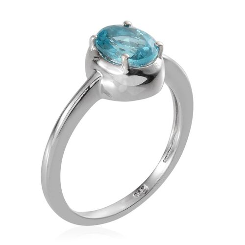 Paraibe Apatite (Ovl) Solitaire Ring in Platinum Overlay Sterling Silver 1.150 Ct.