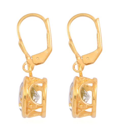 Green Amethyst (Rnd) Lever Back Earrings in 14K Y Gold Overlay Sterling Silver 4.500 Ct.
