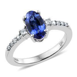 ILIANA 18K White Gold 1.30 Ct AAA Tanzanite Ring with Diamond SI G-H