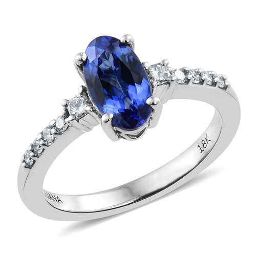 ILIANA 18K White Gold 1.30 Ct AAA Tanzanite Ring with Diamond SI G-H