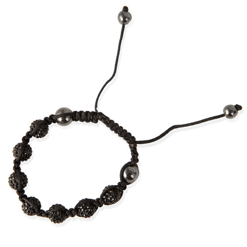 Black Austrian Crystal, Hematite Bracelet (Adjustable)