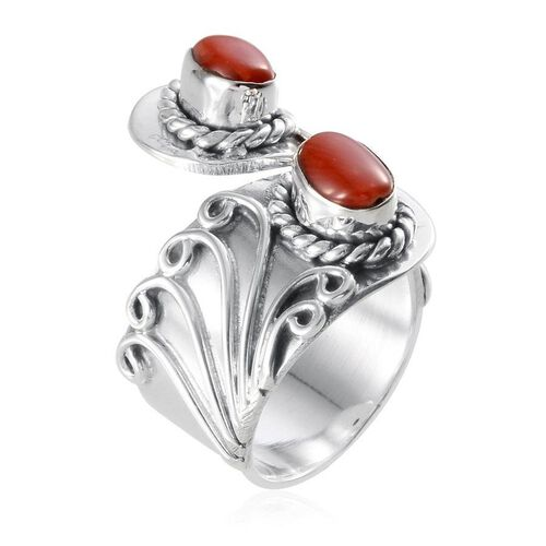 Jewels of India Natural Mediterranean Coral (Ovl) Ring in Sterling Silver 1.920 Ct.
