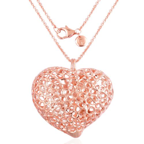 RACHEL GALLEY Rose Gold Overlay Sterling Silver Amore Heart Lattice Pendant with Chain (Size 30), Silver wt 32.72 Gms.