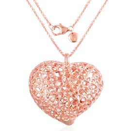 RACHEL GALLEY Rose Gold Overlay Sterling Silver Amore Heart Lattice Pendant with Chain (Size 30), Silver wt 32.75 Gms.