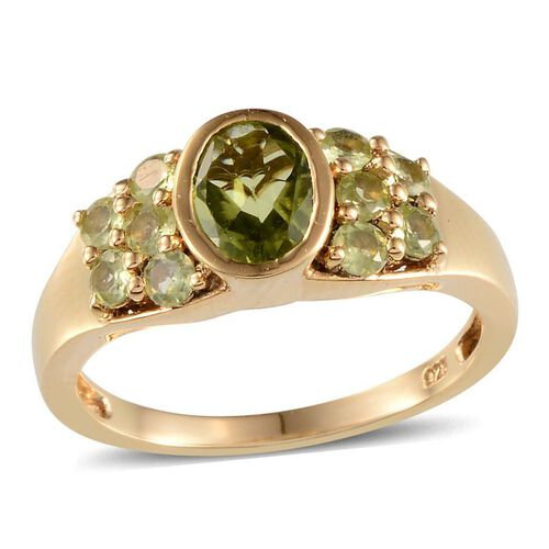 AA Hebei Peridot (Ovl 1.25 Ct) Ring in 14K Gold Overlay Sterling Silver 2.000 Ct.