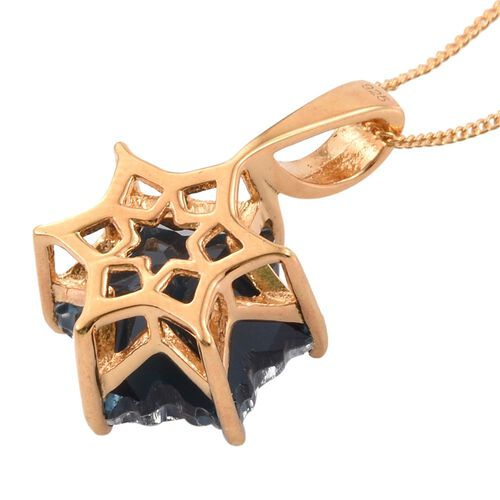 LIMITED EDITION STELLARIS CUT Indicolite Quartz Pendant With Chain in 14K Gold Overlay Sterling Silver 7.000 Ct.