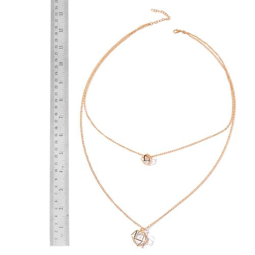 Simulated White Diamond Necklace (Size 26 with 2 inch Extender) in Gold Tone