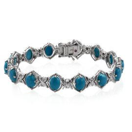 Sonoran Turquoise (Ovl), Pink Sapphire Bracelet (Size 7.75) in Platinum Overlay Sterling Silver 15.020 Ct.