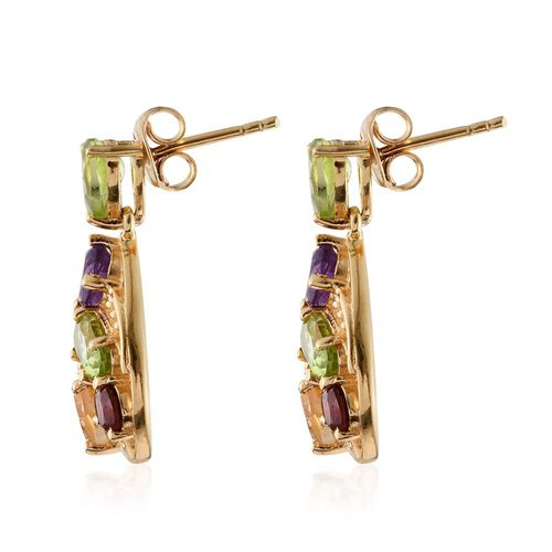 Hebei Peridot (Pear), Citrine, Mozambique Garnet, Amethyst, Sky Blue Topaz and Natural Cambodian Zircon Earrings (with Push Back) in 14K Gold Overlay Sterling Silver 3.930 Ct.