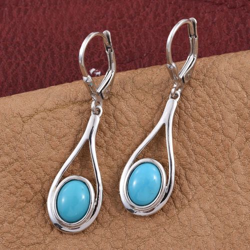 Arizona Sleeping Beauty Turquoise (Ovl) Lever Back Earrings in Platinum Overlay Sterling Silver 2.750 Ct.