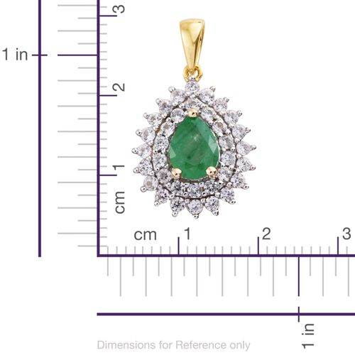 9K Yellow Gold AAA Boyaca Colombian Emerald (Pear 1.00 Ct), Natural Cambodian Zircon Pendant 2.000 Ct.