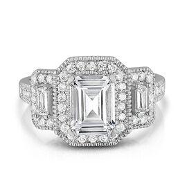AAA Emerald Cut Simulated Diamond Ring, equivalent diamond wt. 4.00 Ct.