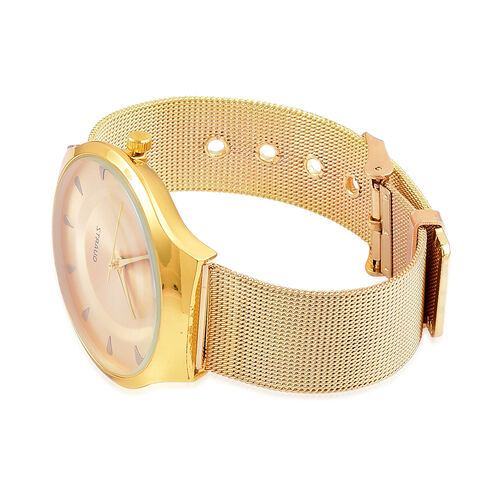 STRADA Japanese Movement Golden Sunshine Dial Water Resistant Watch in Yellow Gold Tone with Stainless Steel Back