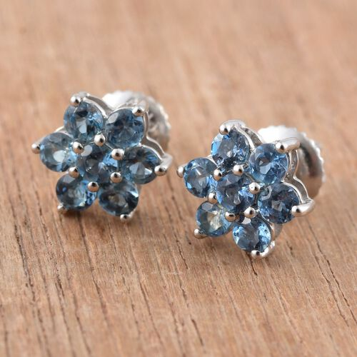 RHAPSODY 950 Platinum 1 Carat Santa Maria Aquamarine Floral Stud Earrings with Screw Back