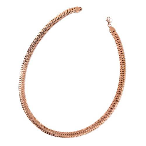 Snake Chain Necklace (Size 24) and Bracelet (Size 7.5 with 1 inch Extender) in Rose Gold Tone with Stainless Steel