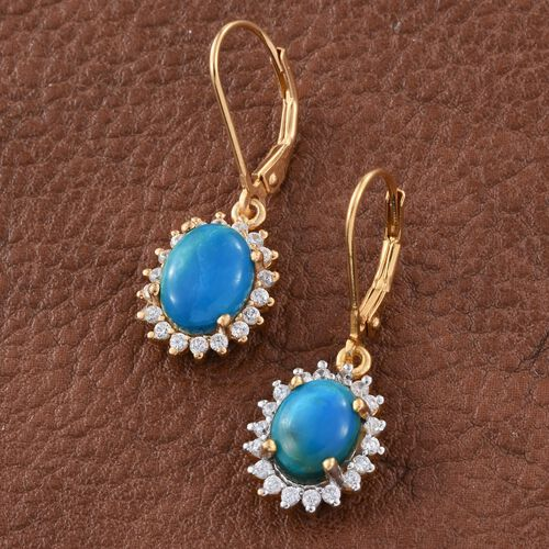 Natural Rare Opalina (Ovl), Natural Cambodian Zircon Lever Back Earrings in 14K Gold Overlay Sterling Silver 3.500 Ct.