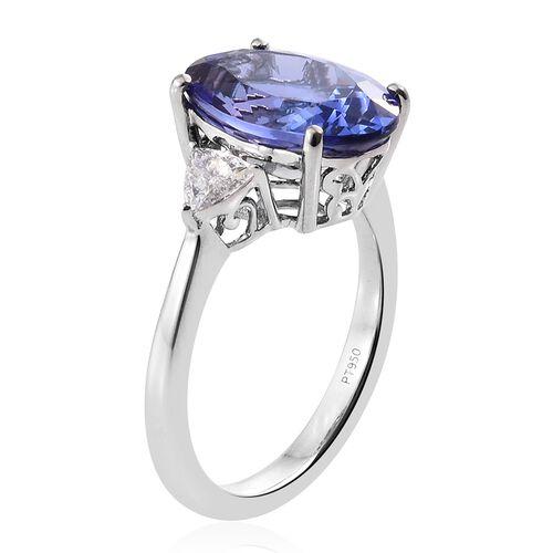 RHAPSODY 950 Platinum AAAA Tanzanite (Ovl 7.94 Ct), Diamond (VS/E-F) Ring 8.460 Ct.