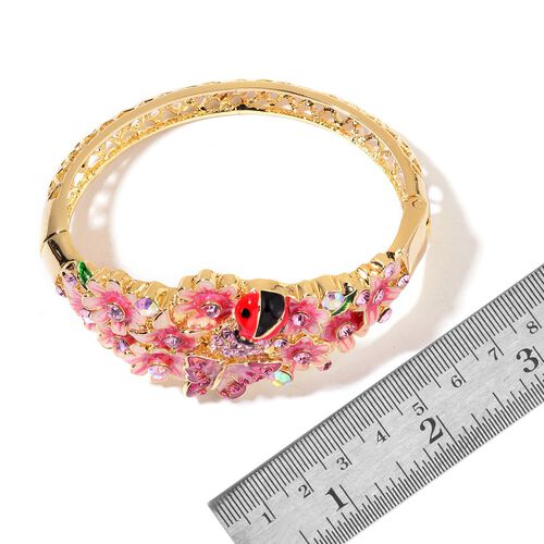 AAA Pink and Purple Austrian Crystal Multi Colour Enameled Lady Bird, Butterfly and Flowers Bangle (Size 7) in Yellow Gold Tone