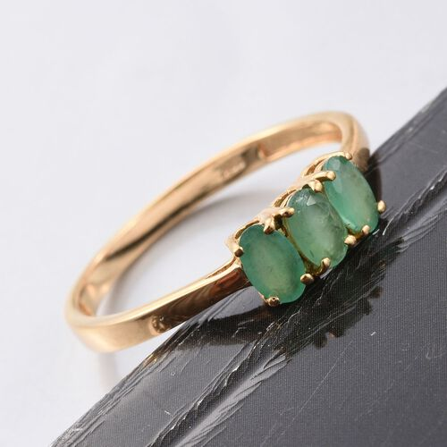 Kagem Zambian Emerald (Ovl) Trilogy Ring in 14K Gold Overlay Sterling Silver 0.660 Ct.