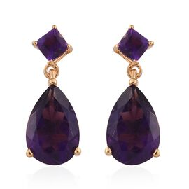 Lusaka Amethyst (Pear) Earrings (with Push Back) in 14K Gold Overlay Sterling Silver 6.000 Ct.