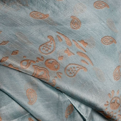 100% Mulberry Silk Light Blue and Golden Colour Handscreen Paisley Printed Kaftan (Free Size)