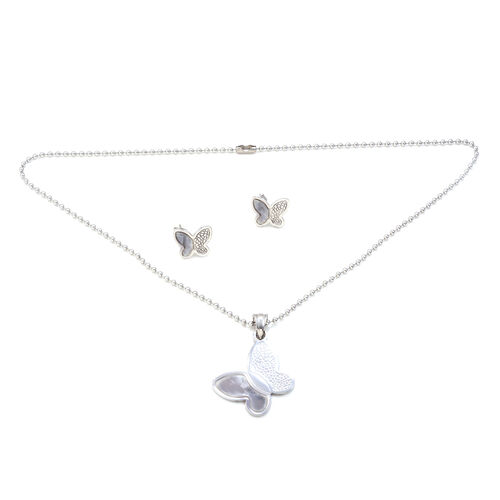 Close Out Deal Butterfly Earrings and Pendant with Bead Chain in Stainless Steel