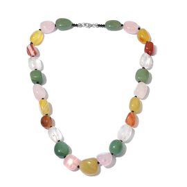 Limited Available-Green Aventurine, Rose Quartz, Yellow Quartz, White Quartz, Carnelian and Boi Ploi Black Spinel Necklace (Size 20) in Platinum Overlay Sterling Silver 472.000 Ct.