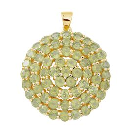 Hebei Peridot (Rnd) Cluster Pendant in 14K Gold Overlay Sterling Silver 12.250 Ct. Silver wt 5.60 Gms.