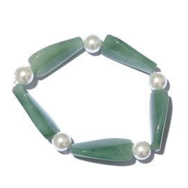 Green Aventurine and Simulated White Pearl Stretchable Bracelet (Size 7.5)