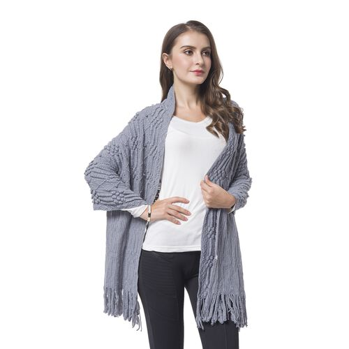 Simulated Pearl Embellished Grey Colour Diamond and Stripes Pattern Shawl with Tassels (Size 180X50 Cm)