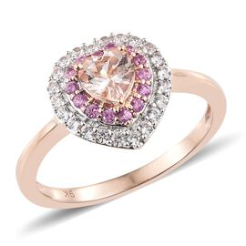 OTO - 9K Rose Gold AAA Marropino Morganite (Hrt), Natural Cambodian Zircon and Pink Sapphire Ring 1.300 Ct.Gold Wt 3.30 Gms