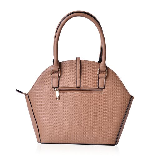 Diamond Pattern Tan Colour Tote Bag (Size 39x29.5x14 Cm)