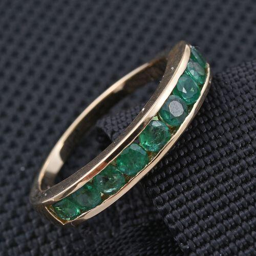 ILIANA 18K Y Gold AAAA Boyaca Colombian Emerald (Rnd) Half Eternity Band Ring 1.000 Ct.
