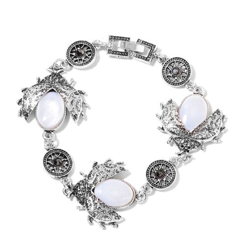 Set of 3- Organic White Shell and AAA Austrian Crystal Ladybird Pendant With Chain (Size 20 with 2 inch Extender), Bracelet (Size 7.5) and Hook Earrings in Silver Tone 75.120 Ct.