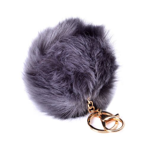 Dark Grey Colour Faux Fur Scarf (Size 100x15 Cm), Faux Fur Cap (Size 24 Cm) and Pom Pom Key Chain (Size 10 Cm)