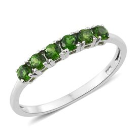 Russian Diopside (Rnd) Ring in Platinum Overlay Sterling Silver 0.750 Ct.