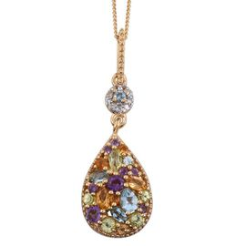 GP Electric Swiss Blue Topaz, Amethyst, Citrine, Hebei Peridot, Kanchanaburi Blue Sapphire and Multi Gemstone Pendant With Chain in 14K Gold Overlay Sterling Silver.
