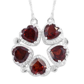 Mozambique Garnet (Hrt) 5 Stone Necklace (Size 18) in Sterling Silver 3.000 Ct.