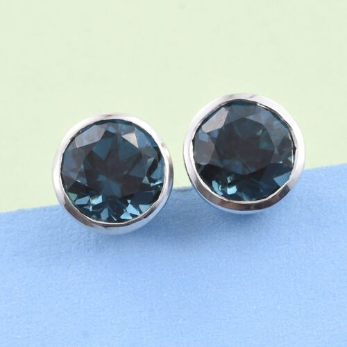 Indicolite Quartz (Rnd) Stud Earrings (with Push Back) in Platinum Overlay Sterling Silver 4.750 Ct.