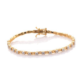 Diamond 0.18 Ct Silver XO Bracelet (Size 7.5) in Gold Overlay, Silver wt 10.06 Gms.