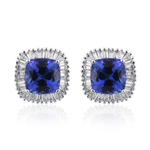 Collectors Edition- ILIANA 18K W Gold AAA Tanzanite (Cush), Diamond (SI/G-H) Stud Earrings (with Screw Back) 3.000 Ct.