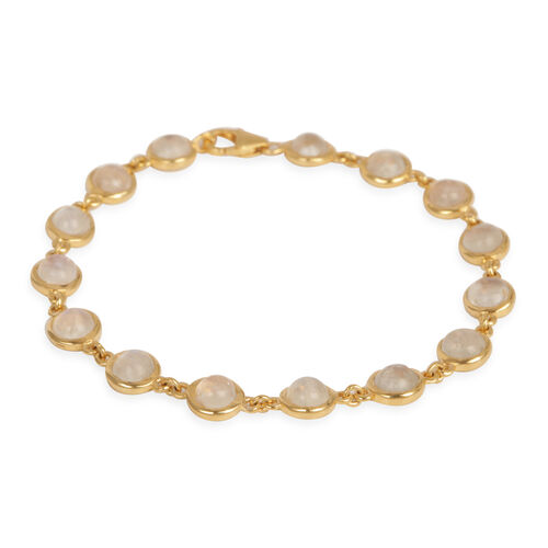 Rainbow Moonstone (Rnd) Bracelet in 14K Gold Overlay Sterling Silver (Size 7.5) 18.000 Ct.