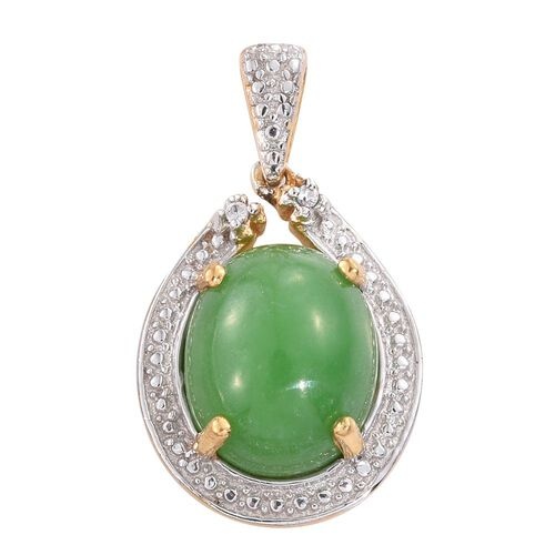 Green Jade (Ovl), Natural Cambodian Zircon Pendant in 14K Gold Overlay Sterling Silver 6.000 Ct.