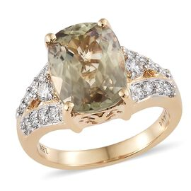 ILIANA 18K Yellow Gold AAA Natural Turkizite Extremely Rare Size  (Cush 12x9 mm 5.25 Ct), Diamond (SI/G-H) Ring 5.620 Ct. Gold wt 7.50 Gms.