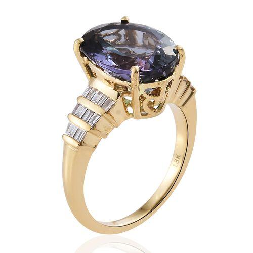 ILIANA 18K Y Gold AAA Peacock Tanzanite (Ovl 7.79 Ct), Diamond (SI/G-H) Ring 8.050 Ct.