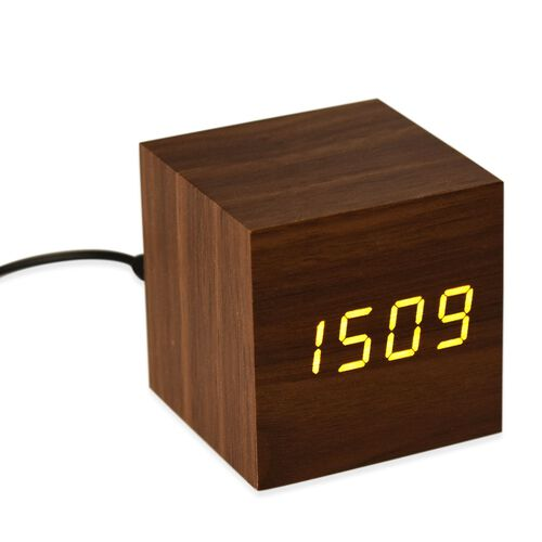 Wooden Style LED Clock (With Sound Activation, 3 Alarm Setting, Room Temperature, Date Display Feature) Chocolate-Yellow