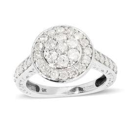 9K W Gold SGL Certified Diamond (G-H/I3) (Rnd) Ring 1.000 Ct.