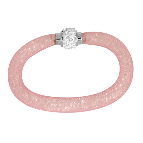 Set of 3 - Close Out Deal Brown, Pink and Blue Austrian Crystal Bangle (Size 8) in Silver Bond