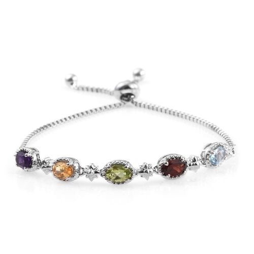 Sky Blue Topaz (Ovl), Mozambique Garnet, Hebei Peridot, Amethyst and Citrine Adjustable Bracelet (Size 6.5 to 8.5) in ION Plated Platinum Bond 2.410 Ct.