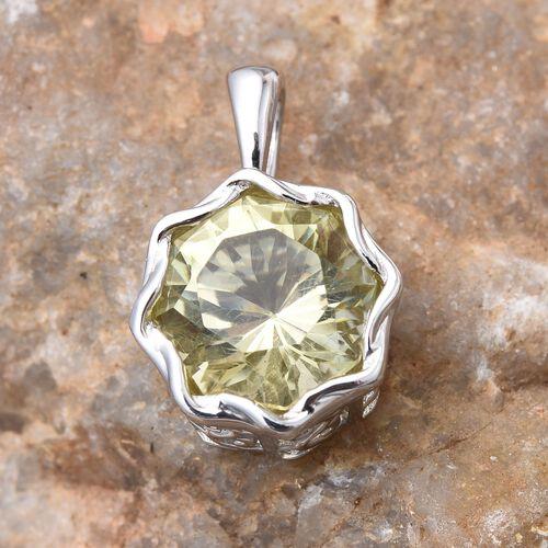 Brazilian Green Gold Quartz (Octillion Cut) Solitaire Pendant in Platinum Overlay Sterling Silver 4.500 Ct.